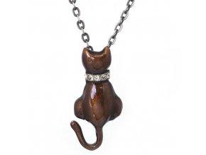 Kočka - Brown - náhrdelník s přívěskem  «F»