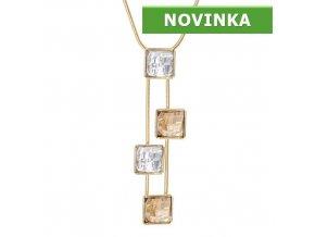 Lucas Gold - pozlacený náhrdelník s kameny Swarovski  «F»