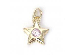 Star Pink - přívěšek pozlaceno