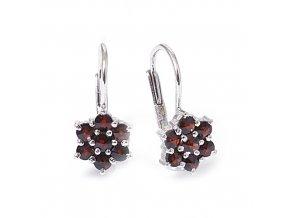 Klára - granátový šperk - náušnice rhodiované stříbro 925/1000