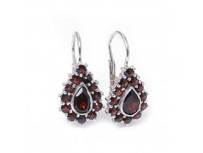 Olivie - granátový šperk - náušnice rhodiované stříbro 925/1000