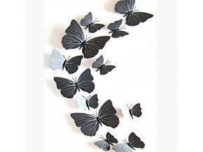 """3D motýlci """"EMANUEL"""" - černí 12 ks"""