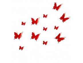 """3D motýlci """"EMANUEL"""" - červení 12 ks"""