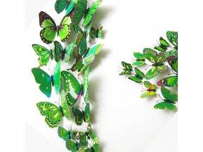 "3D motýlci ""EMANUEL"" - zelení 12 ks"