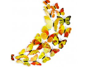 "3D motýlci ""EMANUEL"" - žlutí 12 ks"