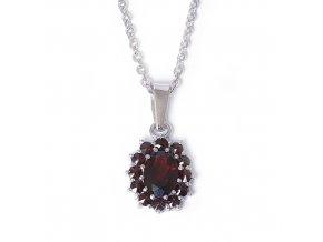 Miriam - přívěsek granátový šperk - rhodiované stříbro 925/1000