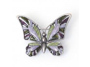 Motýl 2 zelená/fialová- moderní brož
