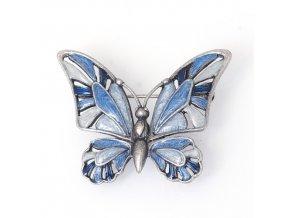 Motýl 3 modrá/šedá - moderní brož