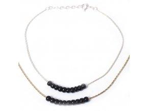 Nákotník korálky černé - stříbro 925/1000