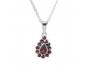 Olivie - přívěsek granátový šperk - rhodiované stříbro 925/1000