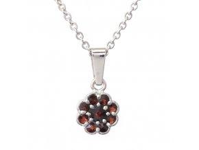 Rozálie - granátový šperk - rhodiované stříbro 925/1000