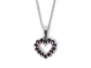 Srdce  - přívěsek granátový šperk - rhodiované stříbro 925/1000