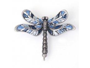 Secesní vážka 3 modrá/šedá - brož