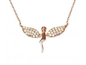 Náhrdelník anděl s rozevřenými křídly s růžovým zlatem