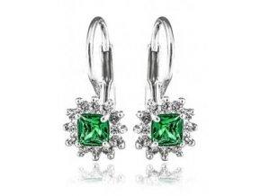 Claris se smaragdovým zirkonem - náušnice  stříbro 925/1000'