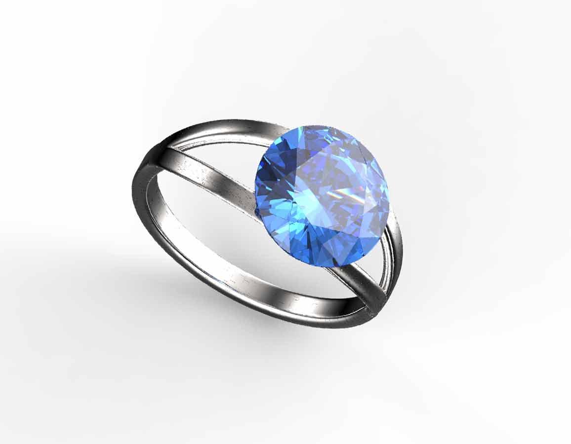 Rivola safír - prsten stříbro 925/1000 Velikost: 51