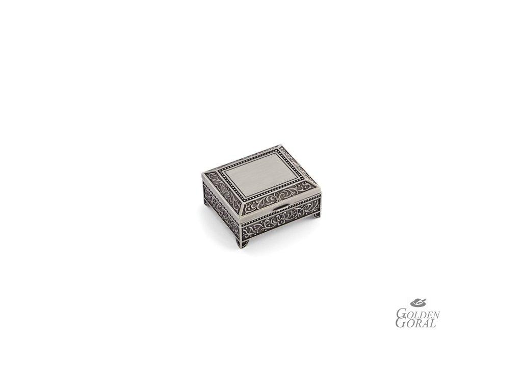 šperkovnica kovová truhlica alpaka