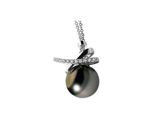 Diamantový prívesok s Tahitskou perlou COMETE