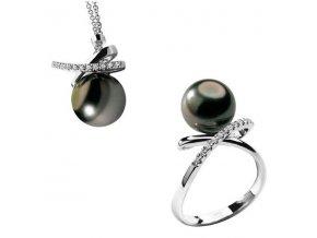 Diamantový set s Tahitskou perlou COMETE