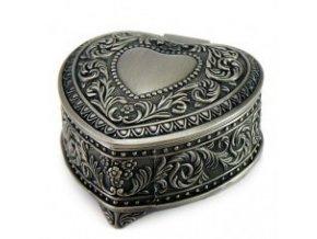 Kovová patinovaná šperkovnica srdce
