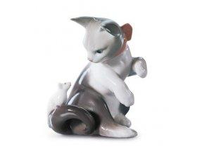 LLADRÓ Cat and mouse porcelánová socha 01005236