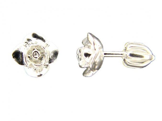 Náušnice šroubky růže stříbrné 213301