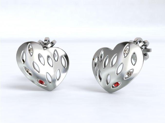 Náušnice šroubky srdce cedník se zirkony stříbrné 214401