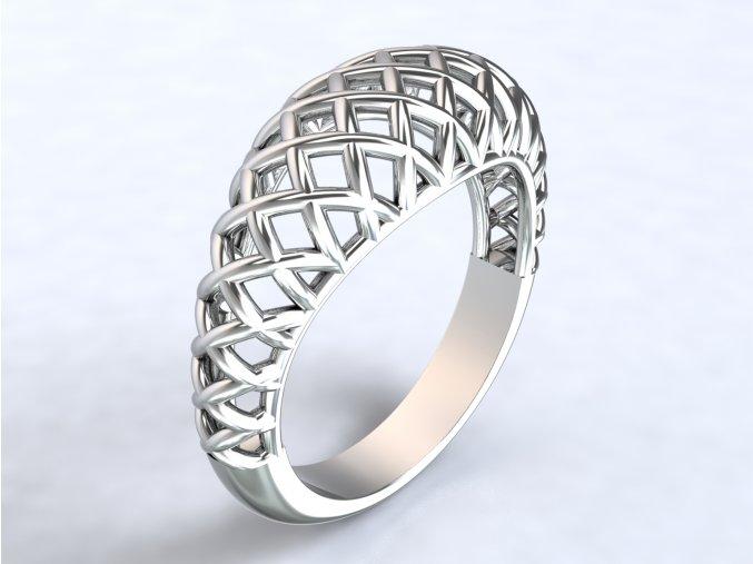 Stříbrný prsten košík