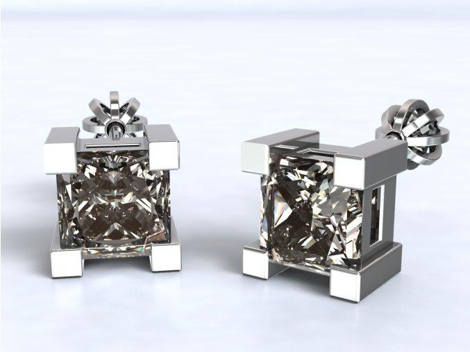 Stříbrné šroubky velký čtvercový kámen 215301
