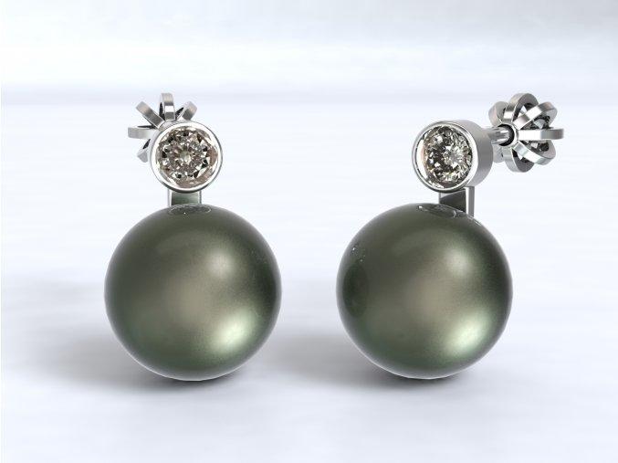 Stříbrné šroubky perla se zirkonem 215601