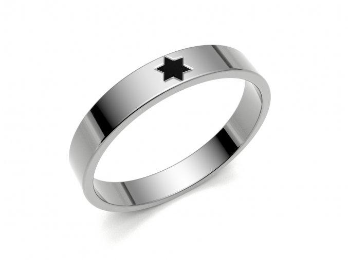 Stříbrný prsten Davidova hvězda 053106