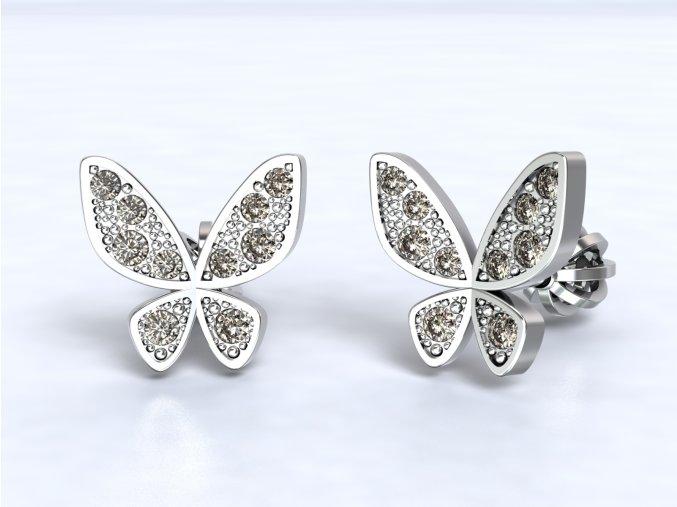 Stříbrné šroubky motýl se zirkony