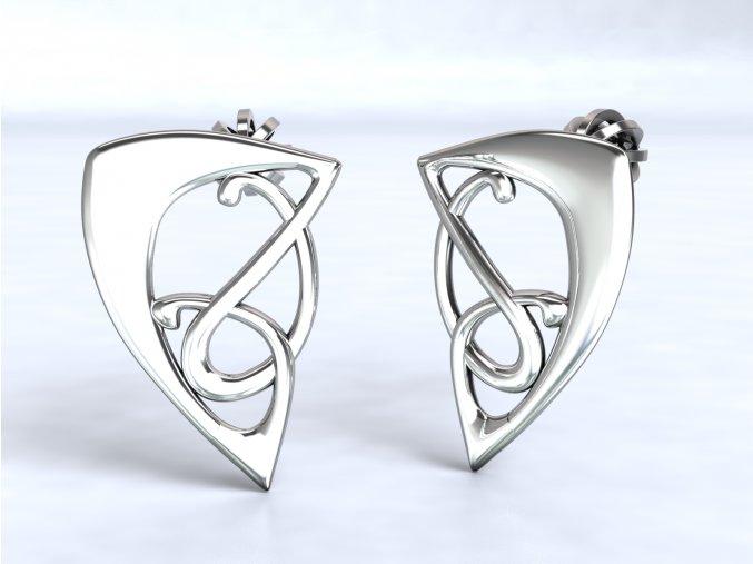 Stříbrné náušnice šroubky trojúhelník proplétaný 217001