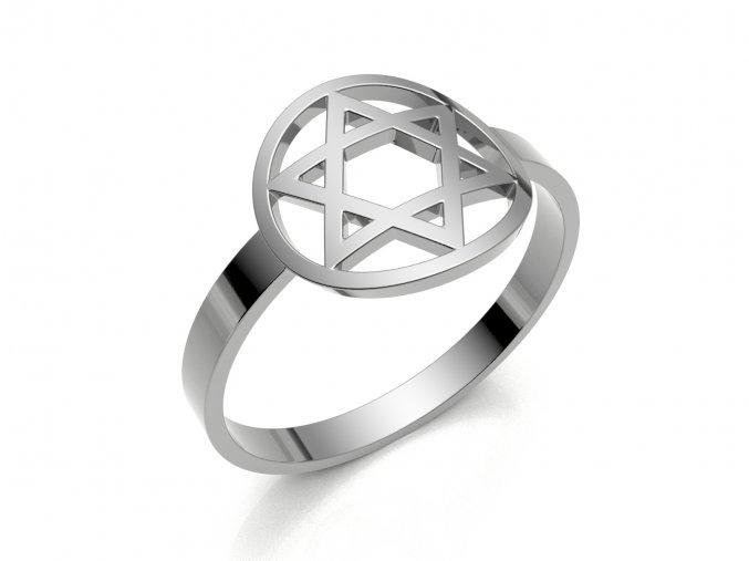 Prsten Davidova hvězda v kroužku stříbrný 053201