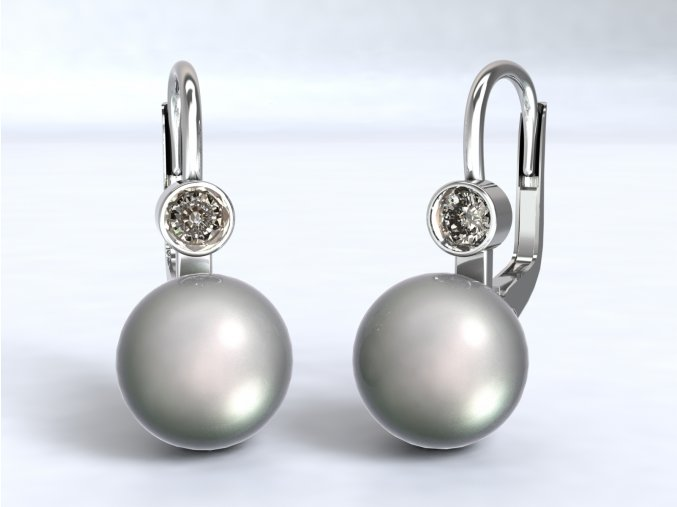 Ag925 náušnice perla se zirkonem