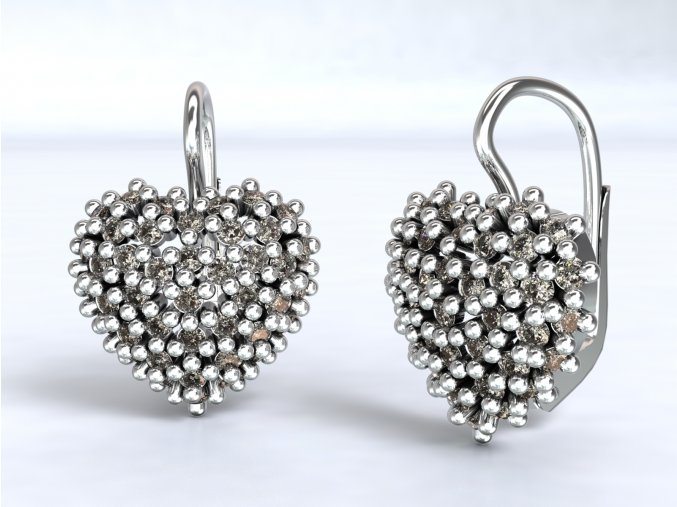 Stříbrné náušnice srdce ježek 222901