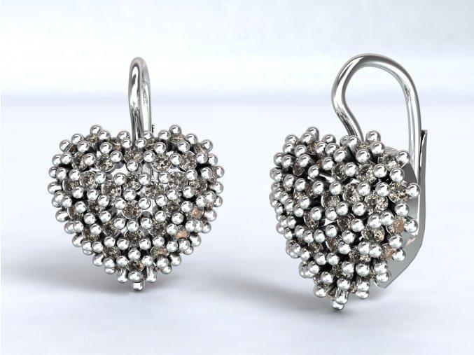 Stříbrné náušnice srdce ježek