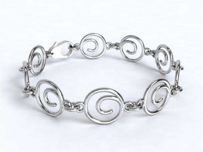 Náramek spirály stříbrný