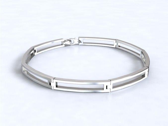 Stříbrný náramek prázdné obdélníky 061501