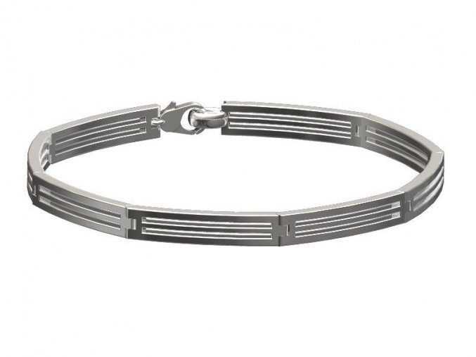 Stříbrný náramek prázdné pruhy 061701