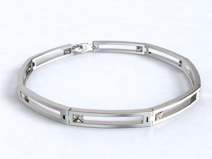 Stříbrný náramek obdélníky se zirkonem 061801