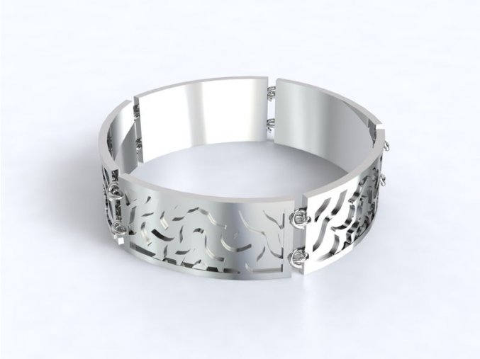 Stříbrný náramek s ornamentem 062201
