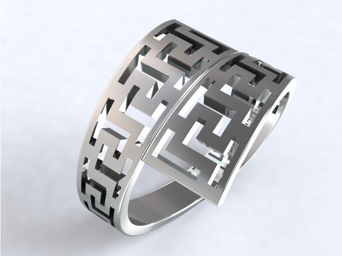 Prsten řecký vzor dvojitý stříbrný 305601