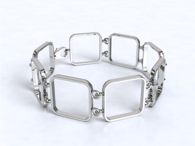 Stříbrný náramek čtverce 062501