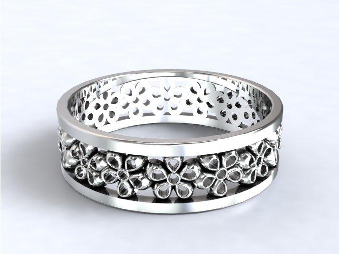 Stříbrný prsten kytičky