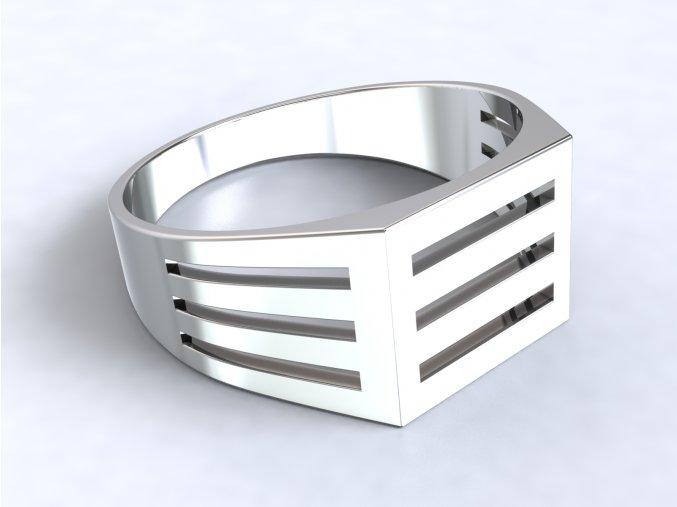 Pánský stříbrný prsten mřížka