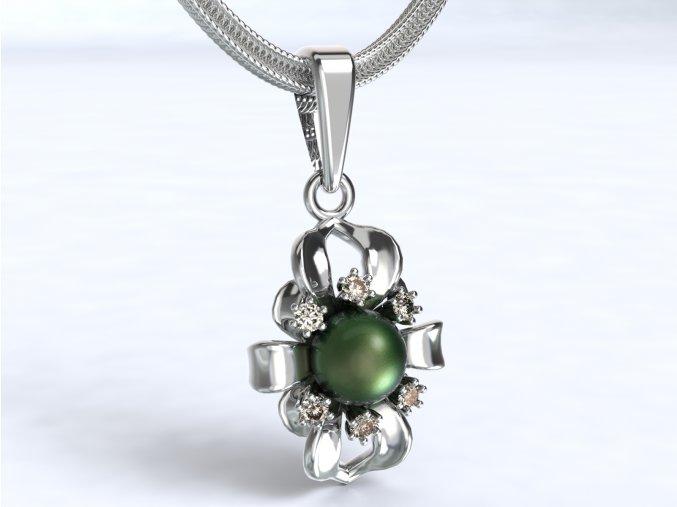 Zlatý přívěsek s kameny a perlou 1102601