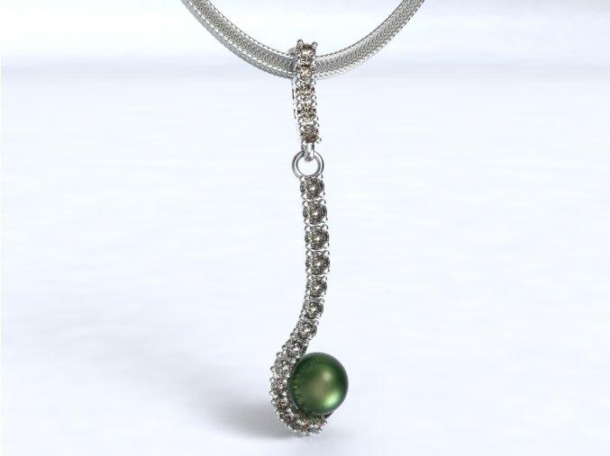 Zlatý přívěsek s kameny a perlou 1102801