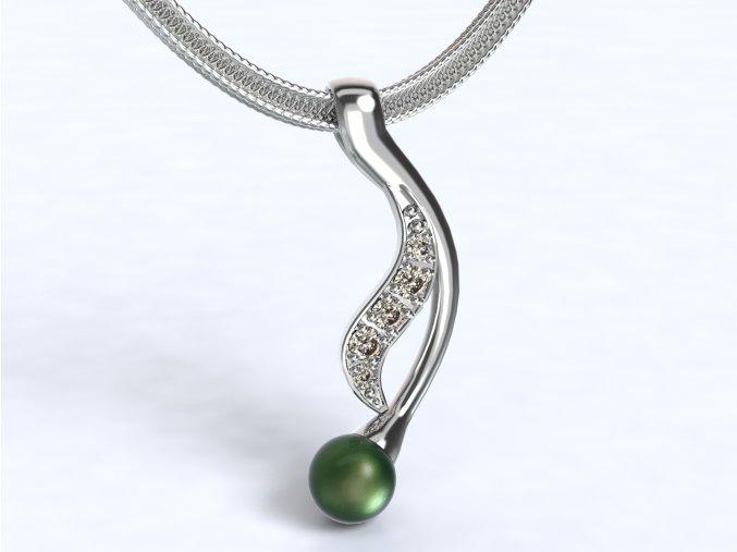 Zlatý přívěsek s kameny a perlou
