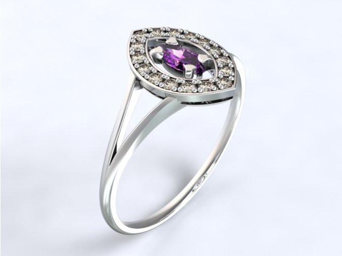 Au 585/1000 Zlatý prsten s kameny1300701